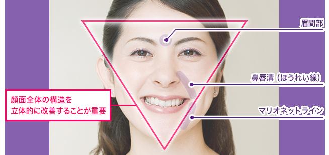 「顔面全体の構造を立体的に改造する事が重要」を示す写真